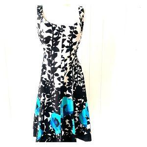 Nine West Black White with Blue Flower Design